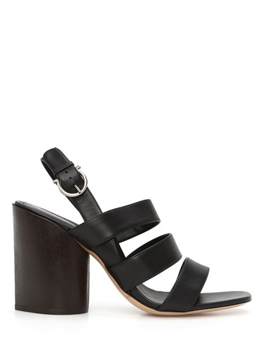 Salvatore Ferragamo Salvatore Ferragamo  Bantlı Kadın Deri Sandalet 101510917 Siyah